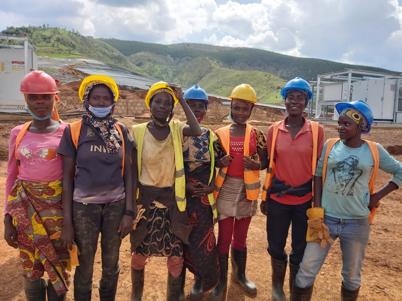 Community Members in Burundi on a construction site