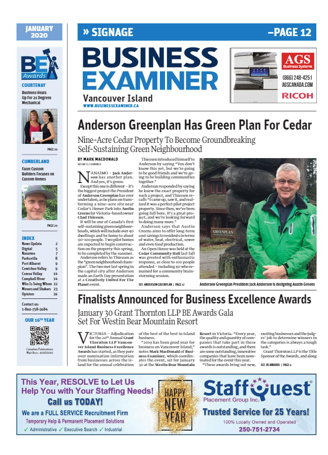 "Business Examiner Newspaper with Article titled ""Anderson Greenplan Has Green Plan for Cedar"""